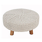 Homescapes Natural Knitted Flat Footstool with Wooden Legs Large 62 x 62 x 30 cm
