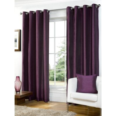 Hamilton McBride Faux Silk Lined Eyelet Aubergine Curtains - 90x90 Inches (229x229cm)