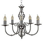 Memphis Twist 5 Way Chandelier Ceiling Light, Brushed Chrome