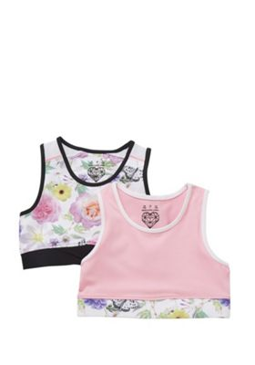 F&F Active 2 Pack of Floral Print Sports Crop Tops Pink Multi 5-6 years