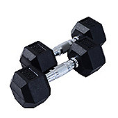 HOMCOM 2 x Rubber Dumbbells Sports Hex Weights Set (2 x 8KG)