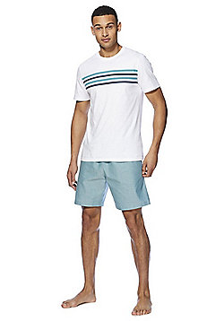 F&F Striped Chambray Lounge Top and Shorts Set - Green