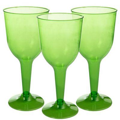 Lime Green Plastic Wine Glasses - 295ml - 20 Pack