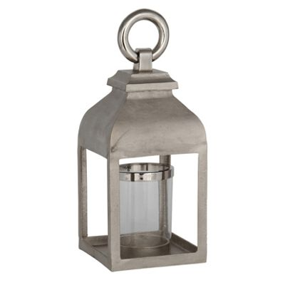 Aluminium, Stainless Steel & Glass Square Lantern Small
