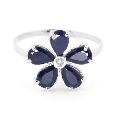 QP Jewellers Diamond & Sapphire Foliole Ring in 14K White Gold - Size G 1/2