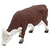 Realistic Grazing Hereford Cow Figurine Toy by Animal Planet