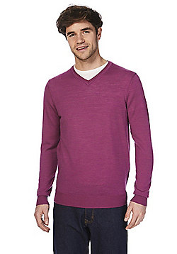 F&F Signature Merino Wool V-Neck Jumper - Pink