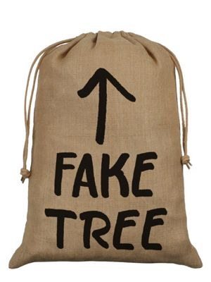 Fake Tree Hessian Santa Sack 40x55cm, Brown