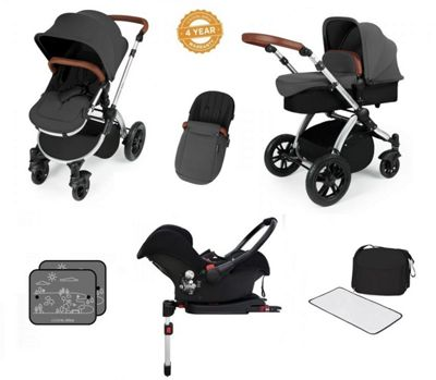 Ickle Bubba Stomp V3 AIO Travel System with 2 x Isofix Base + Mosquito Net Graphite Grey (Silver Chassis)