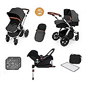 Ickle Bubba Stomp V3 AIO Travel System with 2 x Isofix Base + Mosquito Net Red (Silver Chassis)