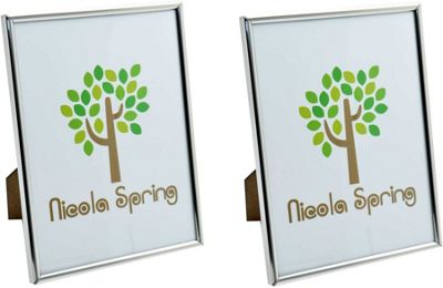 Nicola Spring Silver Metal 6x8 Photo Frame - Standing - Pack Of 2