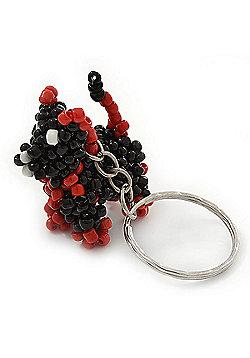 Black/ Red Glass Bead Scottie Dog Keyring/ Bag Charm - 8cm Length