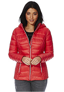 F&F Packable Downfill Padded Hooded Jacket - Red