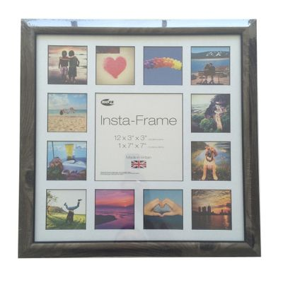 Inov8 Rustic Ash Instagram Photo Frame for 13 Instagram Photos with White Mount and Black Inset