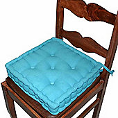 Homescapes Cotton Dining Chair Booster Cushion Teal