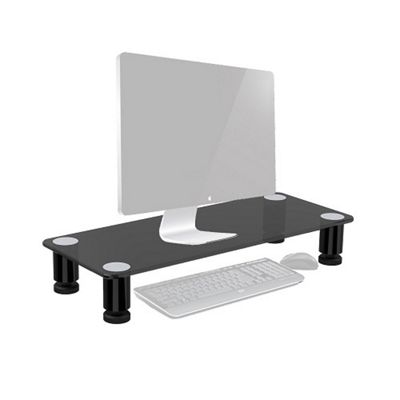 Duronic DM051 Glass Stand Riser for PC Computer Monitor / Laptop and TV (63cm X 24.3cm / 40kg capacity) + 2 Year Warranty