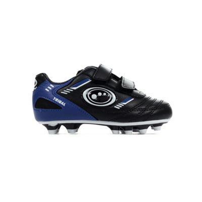 Optimum Tribal Velcro Moulded Kids Football Boot Black/ Blue - UK 9