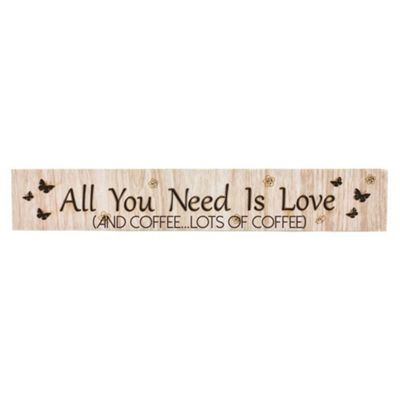 Modern Wooden 'All You Need Is Love (And Coffee...Lots of Coffee)' Mantel Plaque