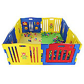 MCC Plastic Baby Playpen with Activity panel & Floor Mats 8 Sides (Blue)