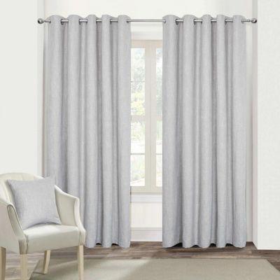 Light Grey Geometric Jacquard Blackout Eyelet Curtain Pair, 66 x 72
