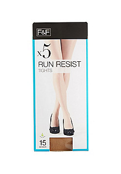 F&F 5 Pack of 15 Denier Run Resist Tights with Lycra® - Natural