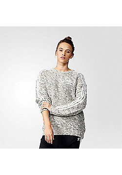 adidas Originals Womens Chunky Knit Trefoil Sweatshirt - Heather grey