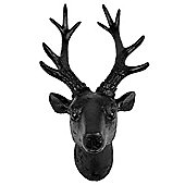 30cm Black Polyresin Wall-mountable Stag's Head Ornament