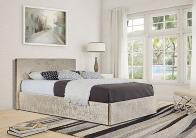 Comfy Living 5ft King Size Crushed Velvet Ottoman Storage Bed Frame in Cream with Luxury Damask Mattress