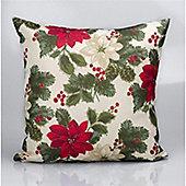 Christmas Cream Poinsettia Cushion - 46x46cm