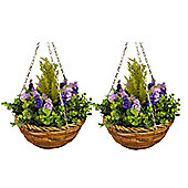 Set of 2 Artificial Topiary Lavender and Eucalyptus Hanging Baskets
