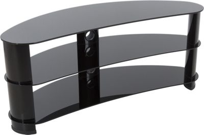 AVF Curved Glass TV Stand For up to 60 inch TVs - Black Glass and Black Legs