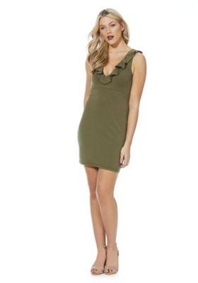 Noisy May Frill Trim Sleeveless Bodycon Dress XL Khaki