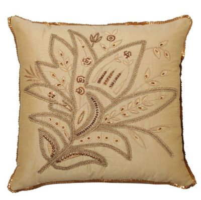 Gold Embellished Cushion with Sequin Lily Floral Design