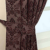 Homescapes Purple Jacquard Tie Back Pair Traditional Damask Design
