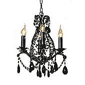 Vintage Lace Black Chandelier, Black Crystal - 4 Arm