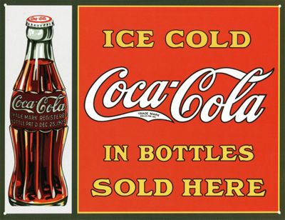 Coca-Cola Ice Cold Coca Cola Sold Here In Bottles Tin Sign
