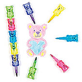 Teddy Bear Pop-a-Crayons Set for Kids - Fun Party Bag Filler Loot Gifts for Children (Pack of 5)
