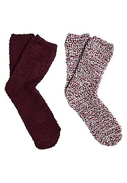 F&F 2 Pair Pack of Popcorn Knit Cosy Socks - Burgundy