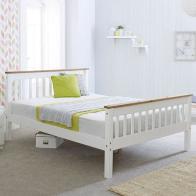 Happy Beds Devon Wood Low Foot End Bed with Pocket Spring Mattress - White and Oak - 4ft Small Double