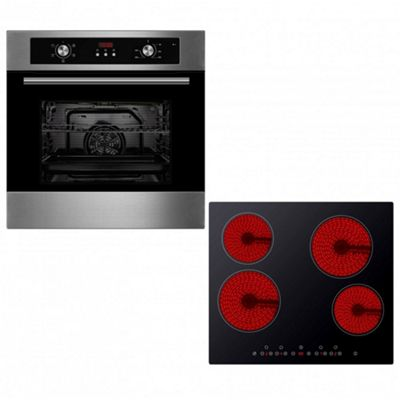 Oven & Hob Pack COF605SS CET600 | Cookology Programmable 60cm Built-in Electric Fan Oven & Touch Control Ceramic Hob Pack