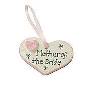 Mother of the Bride Pink Sparkle Heart Wedding Keepsake
