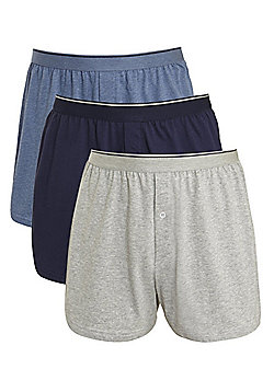 F&F 3 Pack of Marl Jersey Boxer Shorts - Blue, Navy & Grey