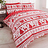 Noel, Christmas Themed Double Duvet - Red