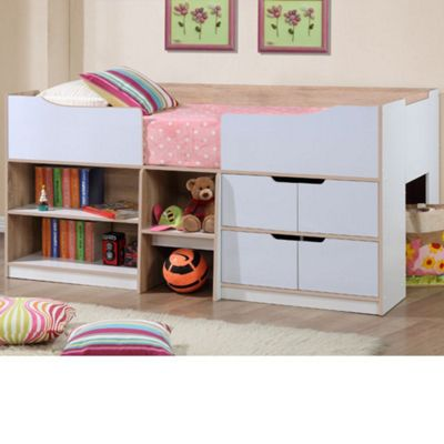 Happy Beds Paddington Wood Kids Storage Midsleeper Cabin Storage Bed with Open Coil Spring Mattress - Oak and White - 3ft Single