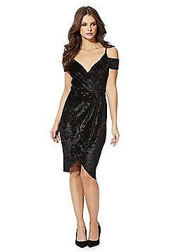 AX Paris Crushed Velour Cold Shoulder Wrap Dress - Black