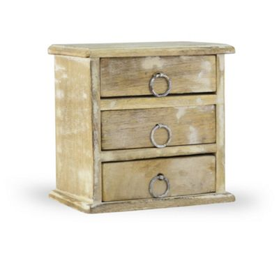 Buy Small Wooden Three Drawer Storage Box In Rustic Finish From Our