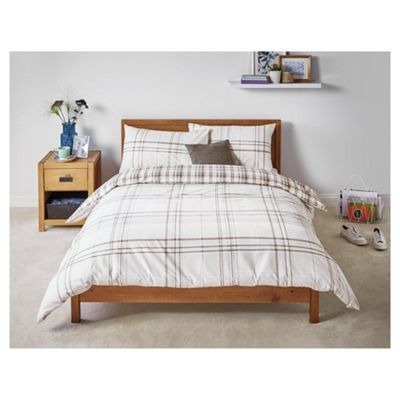Tesco Natural brushed Check Duvet Set Double