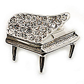 Small Silver Tone Crystal Grand Piano Brooch