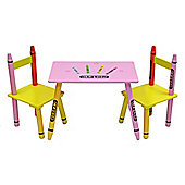 Kiddi Style Crayon Childrens Themed Wooden Table & 2 Chair Set - Pink