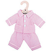 Bigjigs Toys Pink Striped Rag Doll Pyjamas for 34cm Soft Doll - Suitable for 2+ Years